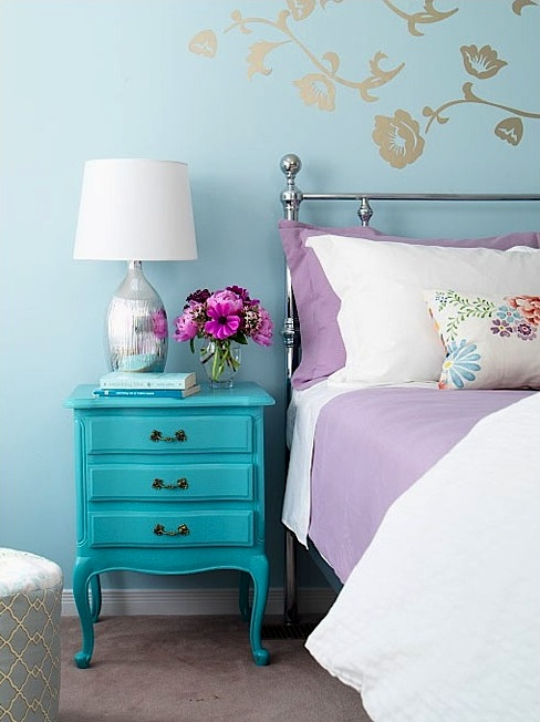 teen room storage ideas with vintage nightstand