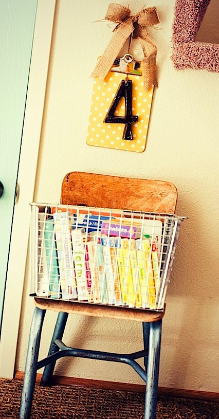 kids room storage ideas with vintage wire basket on vintage kids chair