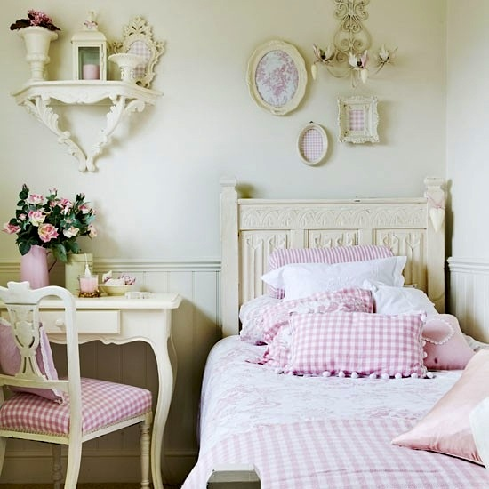 pink and white teen girls room with vintage furniture