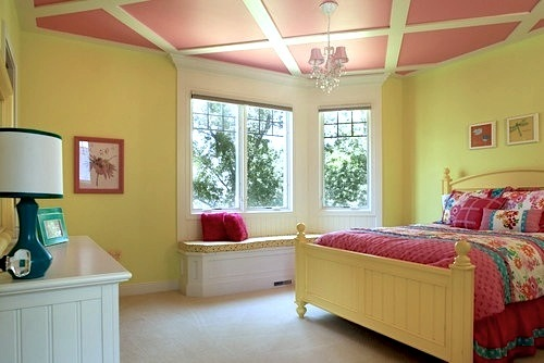 girls bedroom ceiling ideas with diagonal wood slat trim