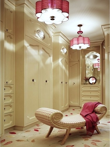 feminine closet with flower shaped lampshade