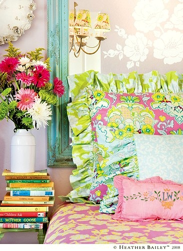 girls garden theme room with floral bedding and accessories