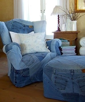 wing back chair and ottoman upholstered in recycled kids blue jeans