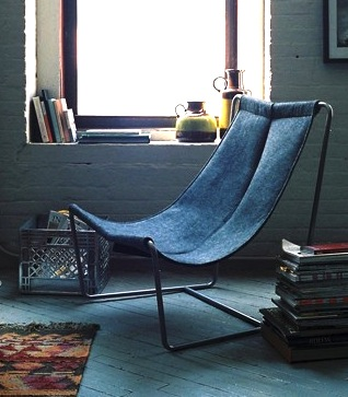 kids recycled blue jeans for sling chair upholstery