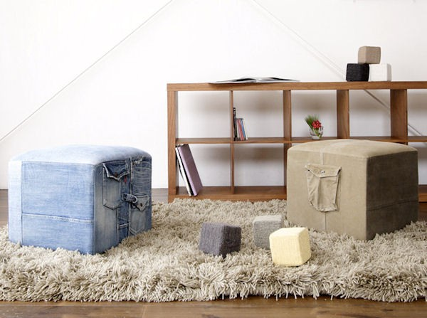 kids recycled blue jeans made into ottoman