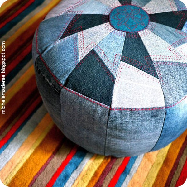 recycled kids blue jean ottoman