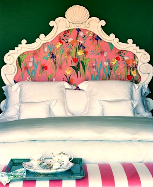 tween room ideas with floral painted headboard insert