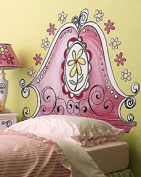 girls room headboard ideas with painted headboard on wall ... & Artsy Painted Headboards....On the Wall | Kids\u0027 Room Beds