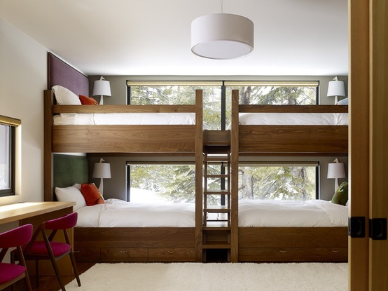 kids bunk room with contemporary beds