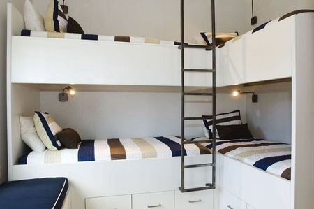 small space corner bunk room for four kids