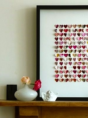 framed paper hearts for kids room valentines day decor