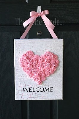 pink heart of fabric roses for teen room door hanger