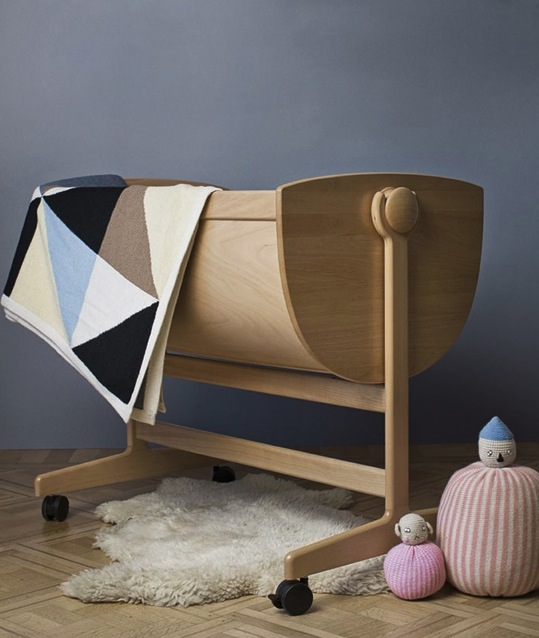 contemporary baby cradle made of wood