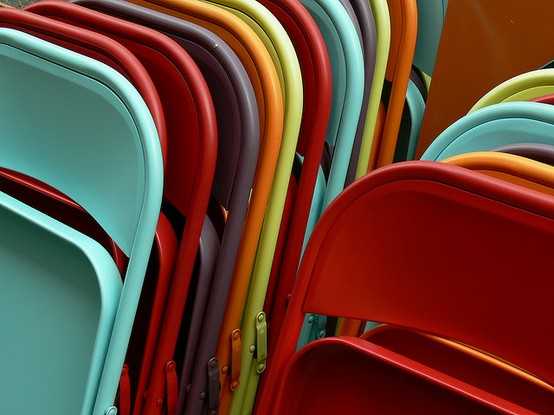 painted metal folding chairs in bright kids colors