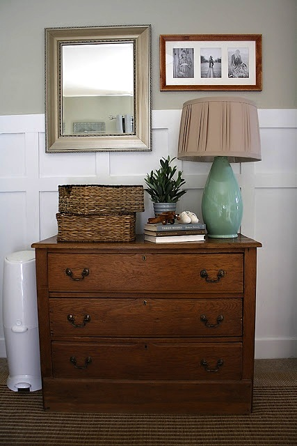 heirloom dresser in baby nursery