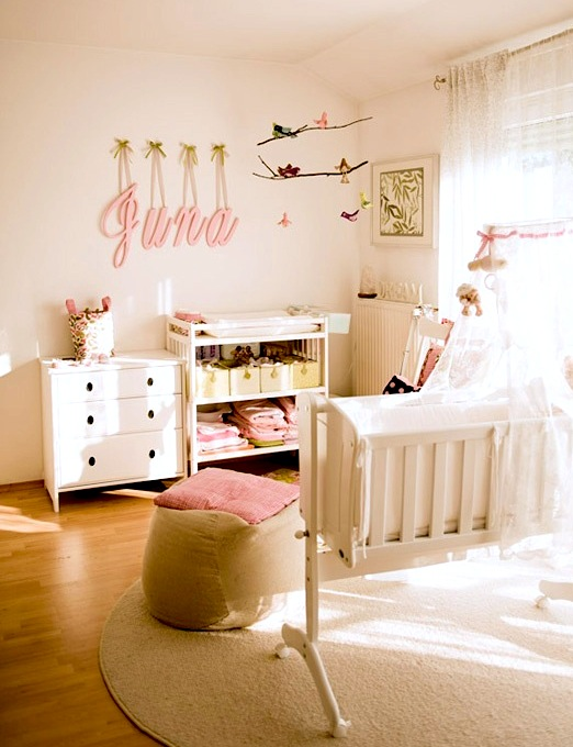 Open Shelf Changing Table In Baby Nursery
