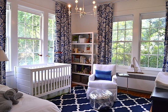 navy blue and white area rug for baby nursery floor