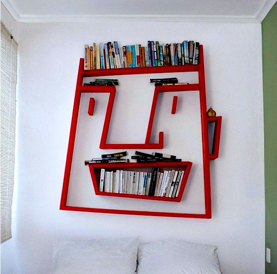 giant face bookcase for teen room