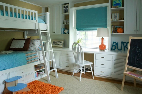 aqua and orange boys bedroom