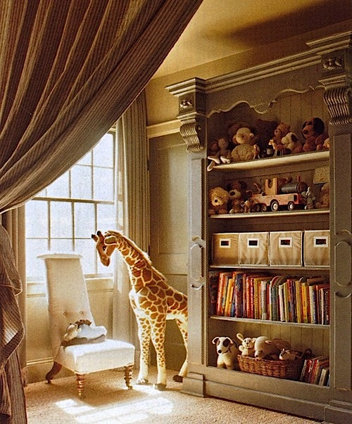 giraffe and bookcase in neutral baby nursery