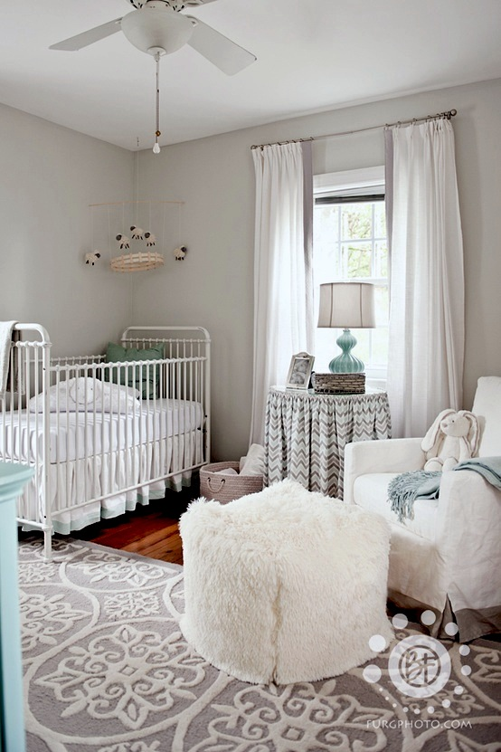 gray and white neutral baby nursery