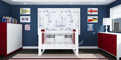 navy blue baby nursery walls