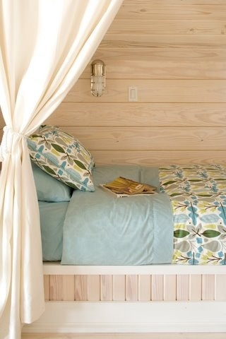soft teal alcove bed for teenager