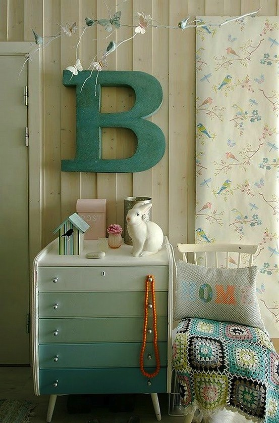 teal ombre painted dresser in girls bedroom