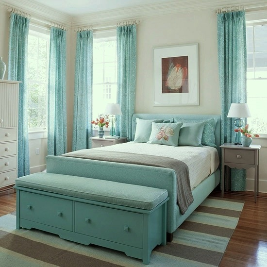 Soft Teal And Gray Bedroom