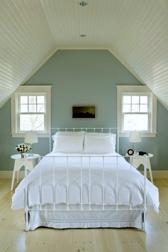 teen bedroom in soft teal and white