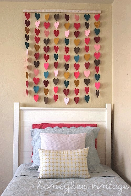 vintage paper heart wall art