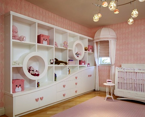 heart shaped drawer pulls in pink baby nursery