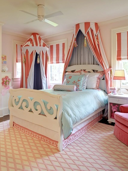 Lovely Girls' Room Bed Crown Canopy   KidSpace Interiors ...