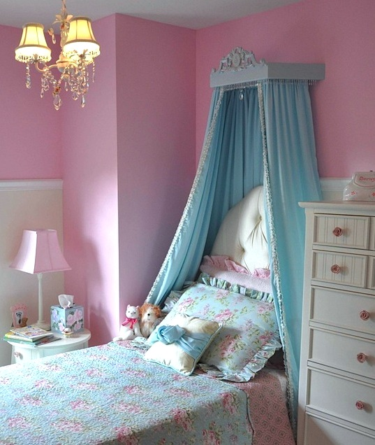 pink and blue girls room bed crown drapery & Lovely Girlsu0027 Room Bed Crown Canopy | KidSpace Interiors | Nauvoo IL