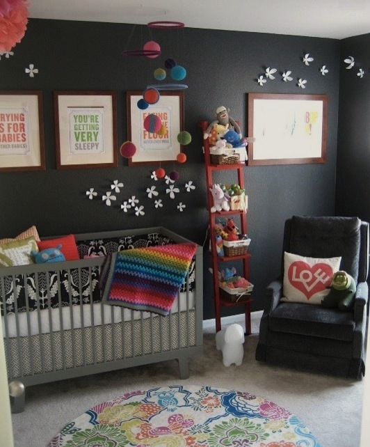 repurposed ladder for baby nursery storage idea