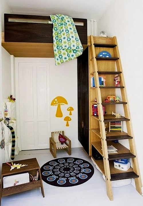 repurposed ladder bookcase storage with kids loft bed