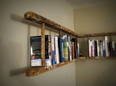repurposed ladder book case for teen boys room