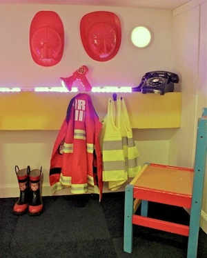 Boys Fireman Pretend Clothes Storage Idea