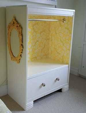 recycle dresser into kids dress up clothes storage
