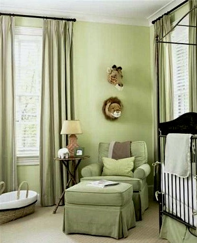 Green Nursery Color Scheme With Lounge Chair And Ottoman