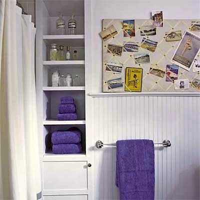 built-in shelves modernize old bathroom for kids