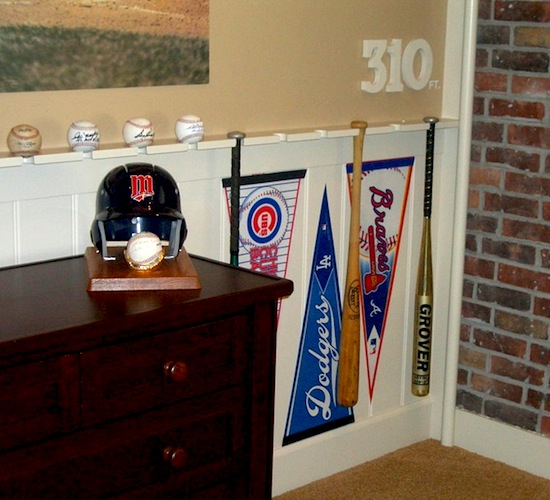 baseball and bat wall display and storage