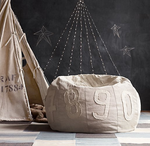 Recycled Canvas Number Pouf