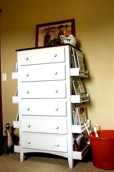 dresser with book storage