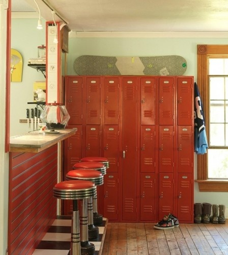 red lockers and chrome stools at soda counter