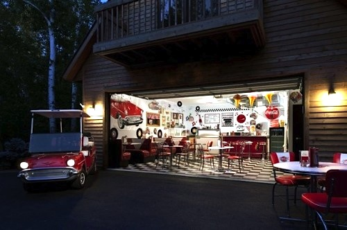garage turned retro diner