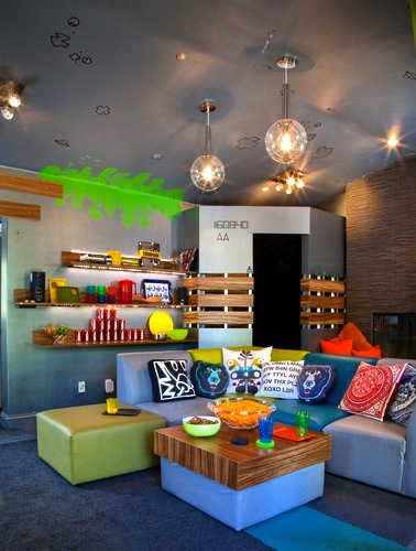 bright colored family room seating