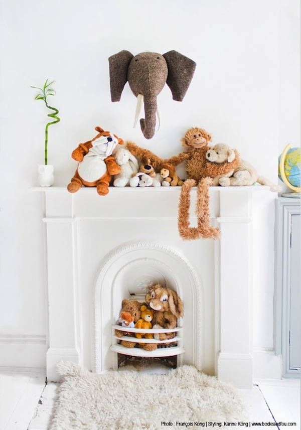 stuffed animal collection display