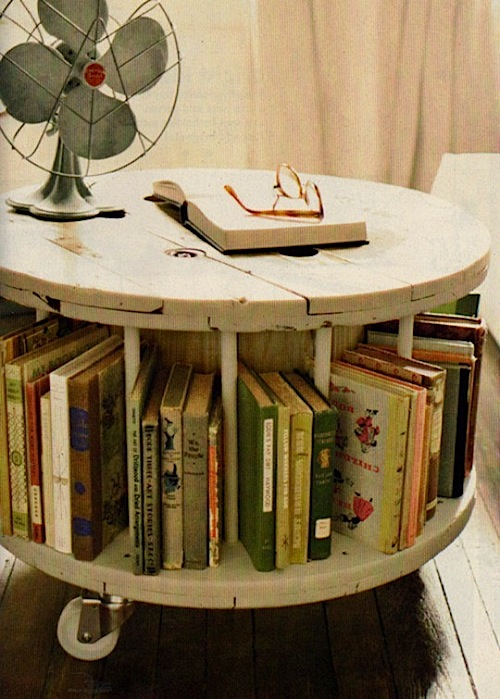 recycled spool table for kids book storage