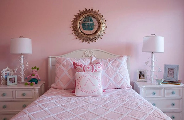pink walls and bedding in girls room